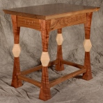 Augusta Stool black walnut, curly maple 18l x 13w x 16h