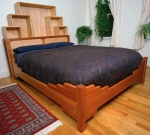 Bo Bed black cherry, curly maple, yellow poplar 95l x 65w x 65h