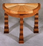 Franco Half-Round Table black walnut, butternut, birdseye maple 26w x 15d x 20h